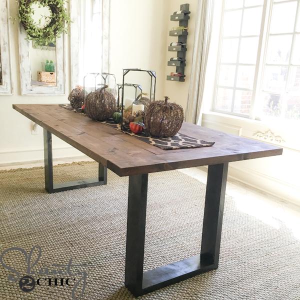 DIY Rustic Modern Dining Table